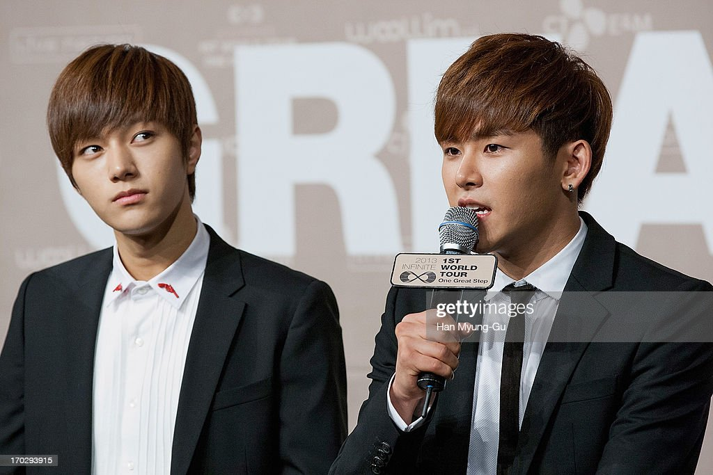 L. Kim and Hoya of South Korean boy band Infinite during the 2013 Infinite 1st World Tour 'One Great Step' Press Conference on June 10, 2013 in Seoul, South Korea.
