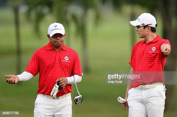 KT Kim and Prayad Marksaeng of Team Asia pictured during the day one of the EurAsia 2016 presented by DRBHICOM at Glenmarie GCC on January 15 2016 in...