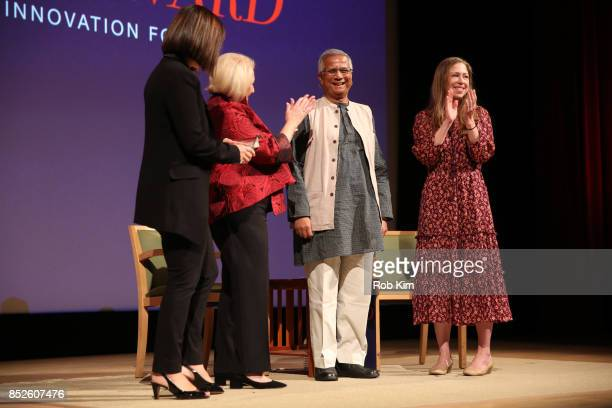 Kim Azzarelli Melanne Verveer Muhammad Yunus and Chelsea Clinton attend Fast Forward Women's Innovation Forum at The Metropolitan Museum of Art on...