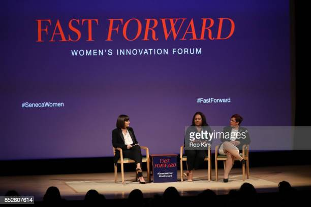 Kim Azzarelli Seneca Women Giselle Burgess Leader Troop 6000 and Meredith Maskara CEO Girl Scouts of Greater New York attend Fast Forward Women's...