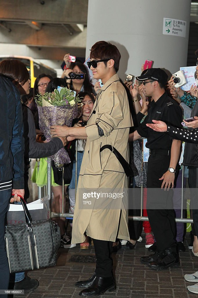Kim Beom was welcomed by his fans at the airport on Sunday May 05, 2013 in Hong Kong, China.