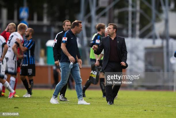 Kim Bergstrand head coach of IK Sirius FK and Mikael Stahre head coach of BK Hacken after the Allsvenskan match between IK Sirius FK and BK Hacken at...