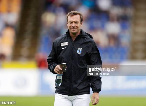 Kim Bergstrand head coach of IK Sirius FK during the Allsvenskan match between IK Sirius FK and Athletic FC Eskilstuna at Studenternas IP on July 8...