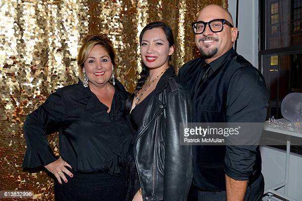 Kim Bichon MMerry Thengvac and Jeff Fowler attend Martha Stewart Weddings Bridal Fashion Week Party at Hudson Mercantile on October 10 2016 in New...