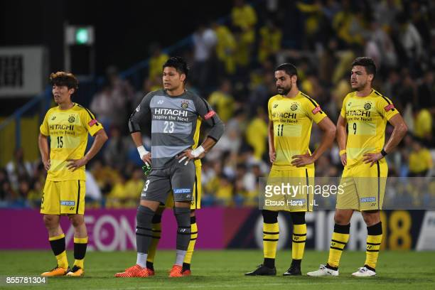 Kim Bo Kyung Kosuke Nakamura Diego Oliveira and Cristiano of Kashiwa Reysol show dejection after the 01 defeat in the JLeague J1 match between...