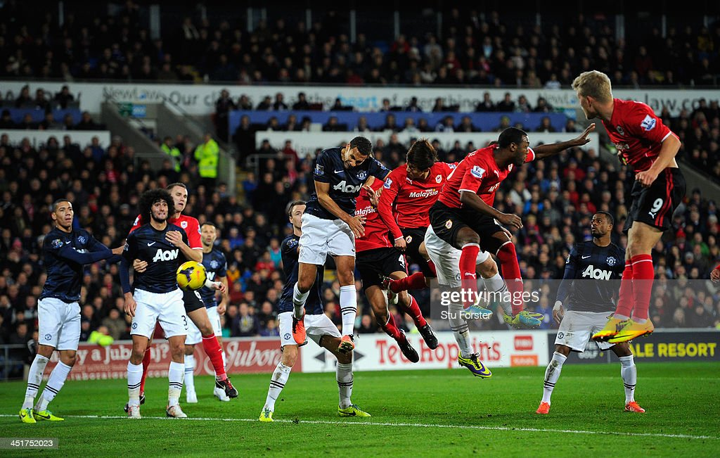 Kim BoKyung of Cardiff heads in the second Cardiff goal during the Barclays Premier League match between Cardiff City and Manchester United at...