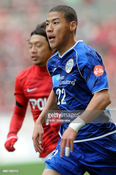 Kim Byeom Yong of Montedio Yamagata in action during the JLeague match between Urawa Red Diamonds and Montedio Yamagata at Saitama Stadium on March...