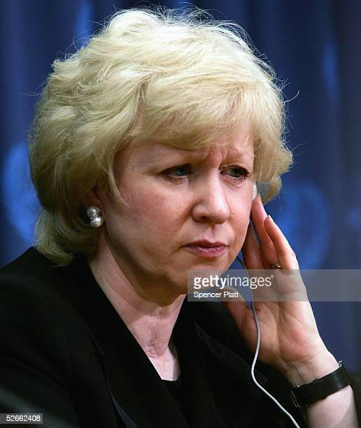 Kim Campbell former Prime Minister of Canada speaks at a news conference to discuss the Alan Cranston Peace Award at the United Nations April 20 2005...