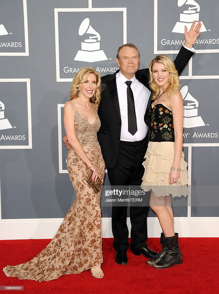 Kim Campbell, Glen Campbell and Ashley Campbell arrive at the 54th Annual GRAMMY Awards held at Staples Center on February 12, 2012 in Los Angeles, California.