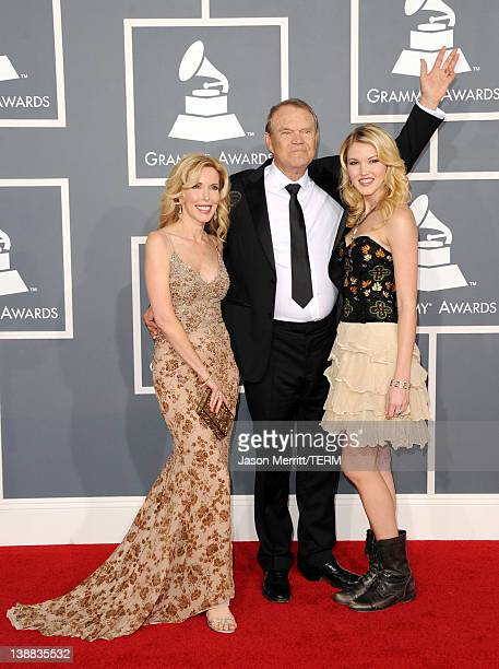 Kim Campbell Glen Campbell and Ashley Campbell arrive at the 54th Annual GRAMMY Awards held at Staples Center on February 12 2012 in Los Angeles...