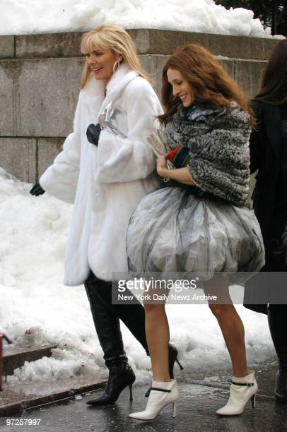 Kim Catrall and Sarah Jessica Parker at the filming of Sex And The City at Bryant Park for the Fashion Shows