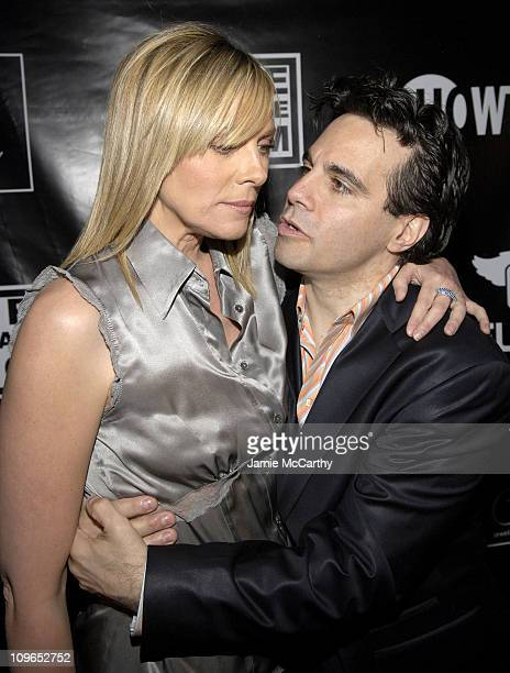 Kim Cattrall and Mario Cantone during PureRomancecom and Jewelry by Rosalina Present Kim Cattrall's Party for Mario Cantone's 'Laugh Whore' on...