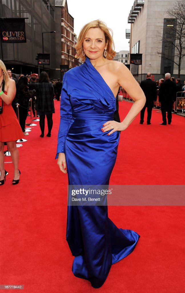 Kim Cattrall arrives at The Laurence Olivier Awards 2013 at The Royal Opera House on April 28, 2013 in London, England.