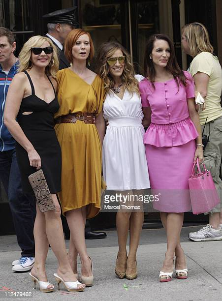 Kim Cattrall Cynthia Nixon Sarah Jessia Parker and Kristin Davis are seen filming on location for 'Sex And The City 2' on the streets of Manhattan on...