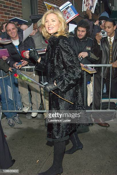 Kim Cattrall during Celebrities Arrive At David Letterman at Ed Sullivan Theater in New York New York United States