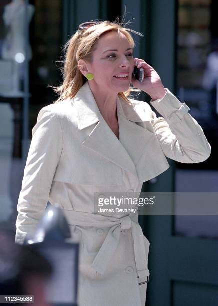 Kim Cattrall during Kim Cattrall Filming 'Sex and the City' in Uptown Manhattan at 92nd Street and Madison Ave in New York City New York United States