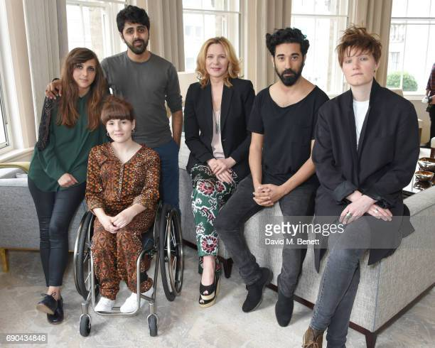 Kim Cattrall poses with past Breakthrough Brits Marnie Dickens Ruth Madeley Vinay Patel Ray Panthaki and Charlie Covell at the BAFTA Breakthrough...