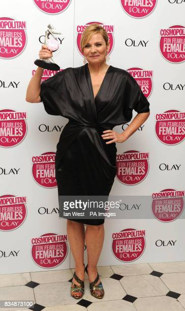 Kim Cattrall wins the Ultimate Icon Award at the Cosmopolitan Ultimate Women of the Year Awards at Banqueting House Whitehall Place central London