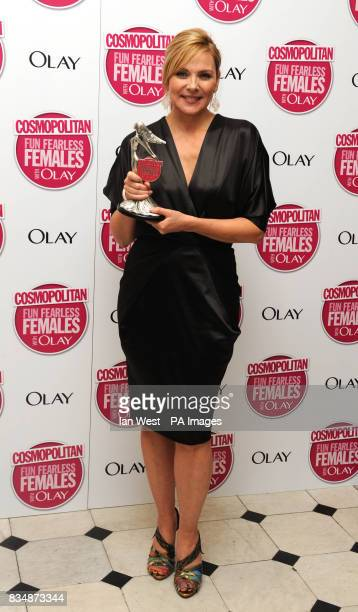 Kim Cattrall with her Ultimate Icon Award at the Cosmopolitan Ultimate Women of the Year Awards at Banqueting House Whitehall Place central London