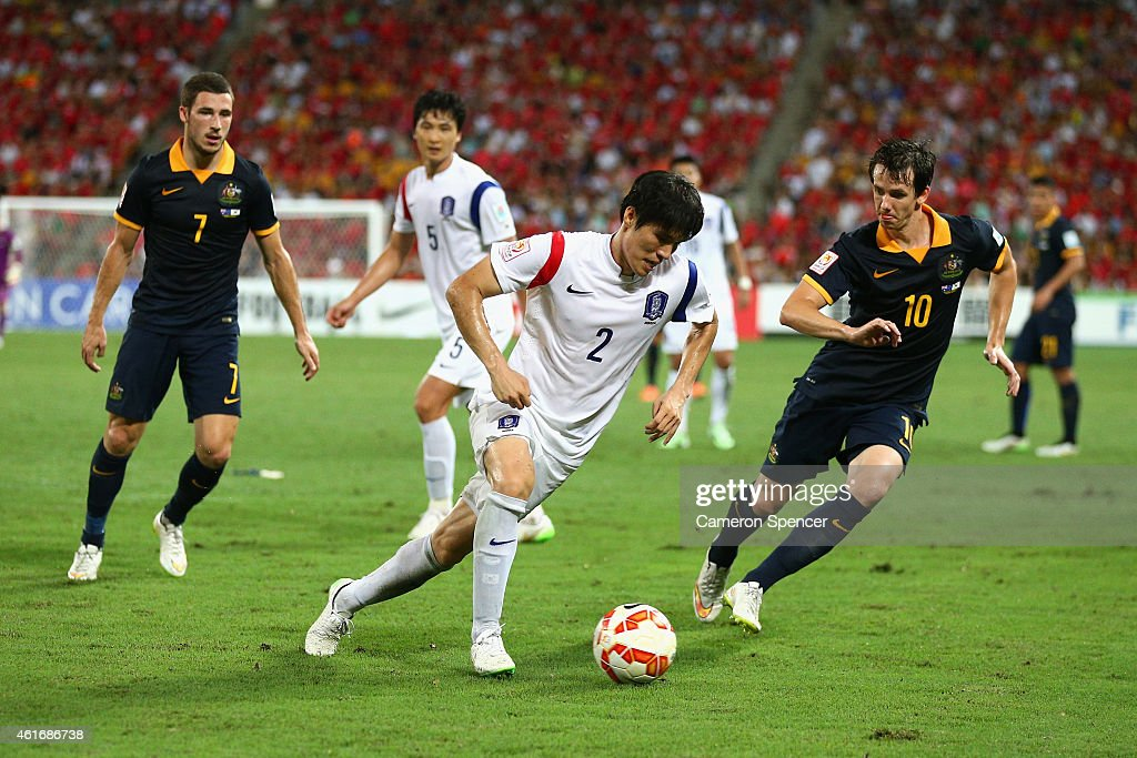 <a gi-track='captionPersonalityLinkClicked' href=/galleries/search?phrase=Kim+Chang-Soo&family=editorial&specificpeople=4023758 ng-click='$event.stopPropagation()'>Kim Chang-Soo</a> of Korea dribbles the ball during the 2015 Asian Cup match between Australia and Korea Republic at Suncorp Stadium on January 17, 2015 in Brisbane, Australia.
