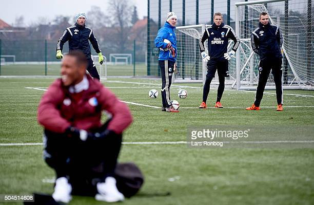 Kim Christensen Anton Scheutjens Thomas Kaminski and Goalkeeper Stephan Andersen of FC Copenhagen looks on Mathias Zanka Jorgensen of FC Copenhagen...
