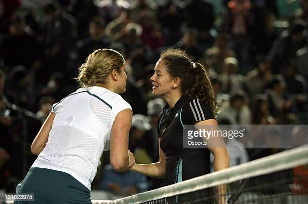 Kim Clijsters and Patty Schnyder after the Gold Group singles semifinal match between Patty Schyder and Kim Clijsters in the Watsons Water Champions...