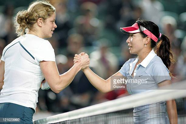 Kim Clijsters and Zheng Jie after the Watsons Water Champions Challenge match between Belgium's Kim Clijsters and China's Zheng Jie in Hong Kong...