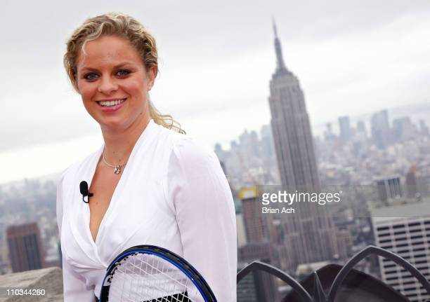 Kim Clijsters attends a photo call at the Top of the Rock observation deck at the Rockefeller Center on August 28 2009 in New York City