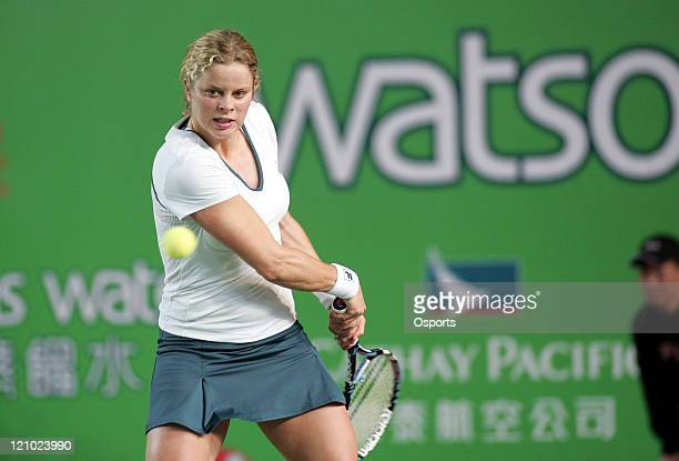 Kim Clijsters in action during the Watsons Water Champions Challenge match between Belgium's Kim Clijsters and China's Zheng Jie in Hong Kong China...