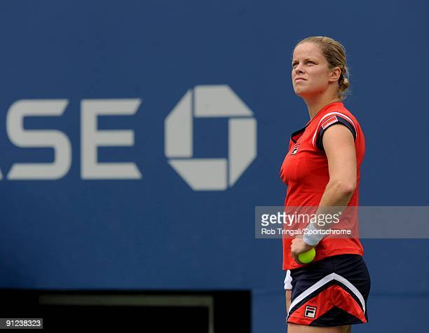 Kim Clijsters looks on during a match against Na Li during day nine of the 2009 US Open at the USTA Billie Jean King National Tennis Center on...