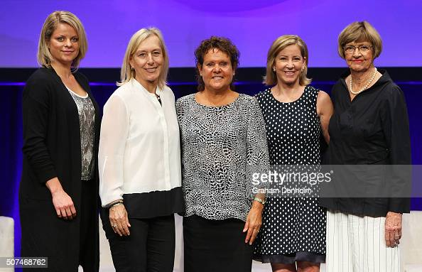 Kim Clijsters Martina Navratilova Evonne GoolagongCawley Chris Evert and Margaret Court pose at the Legends Lunch during day thirteen of the 2016...