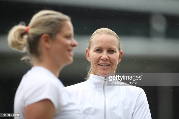 Kim Clijsters of Belgium and Rennae Stubbs of Australia during the Invitation Doubles tournament during the Wimbledon Lawn Tennis Championships at...