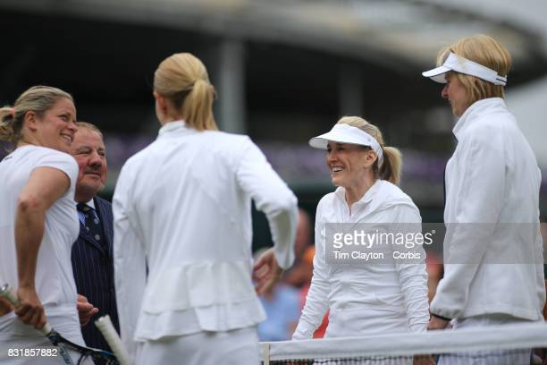 Kim Clijsters of Belgium and Rennae Stubbs of Australia prepare to play against Tracy Austin of the United States and Helena Sukova of the Czech...