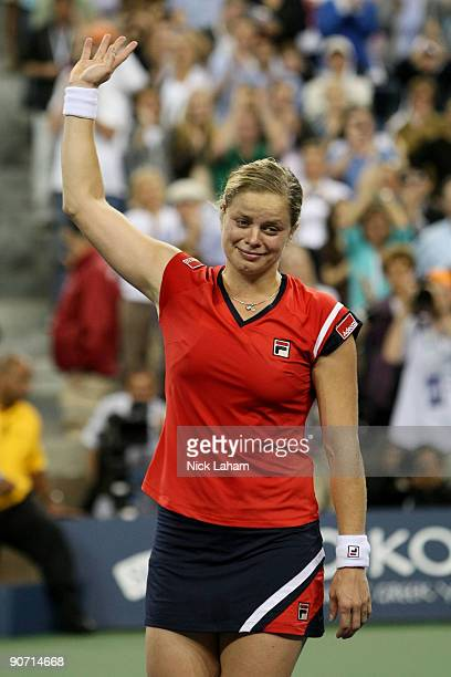 Kim Clijsters of Belgium celebrates after defeating Caroline Wozniacki of Denmark during the Women�s Singles final on day fourteen of the 2009 US...