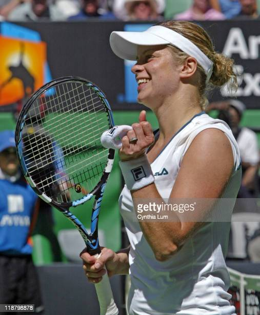 Kim Clijsters of Belgium celebrates defeating Martina Hingis of Switzerland 36 64 63 in ther quarterfinal of the 2007 Australian Open at Melbourne...