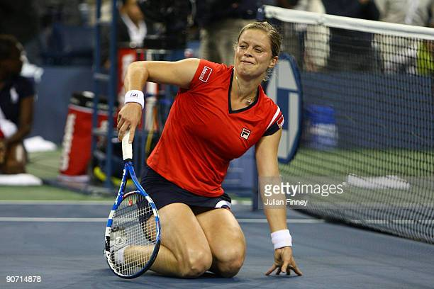 Kim Clijsters of Belgium celebrates winning championship point against Caroline Wozniacki of Denmark during the Women�s Singles final on day fourteen...