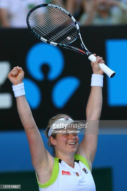Kim Clijsters of Belgium celebrates winning her fourth round match against Na Li of China during day seven of the 2012 Australian Open at Melbourne...