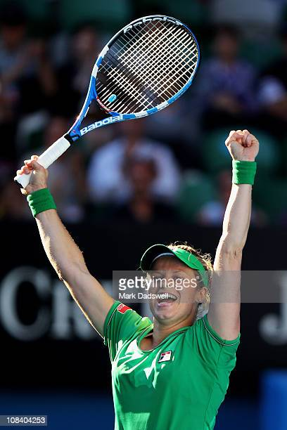 Kim Clijsters of Belgium celebrates winning her semifinal match against Vera Zvonareva of Russia during day eleven of the 2011 Australian Open at...