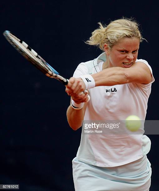 Kim Clijsters of Belgium in action against Patty Schnyder of Switzerland during the Qatar Total German Open on May 5 2005 in Berlin Germany