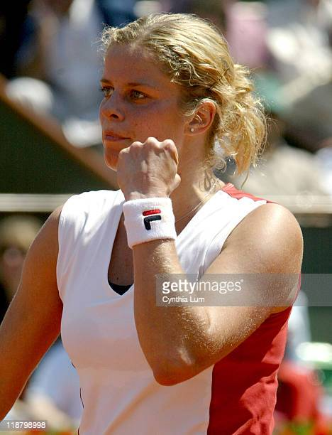 Kim Clijsters of Belgium in action defeating Martina Hingis of Switzerland 76 61 in the quarterfinals of the 2006 French Open at Roland Garros in...