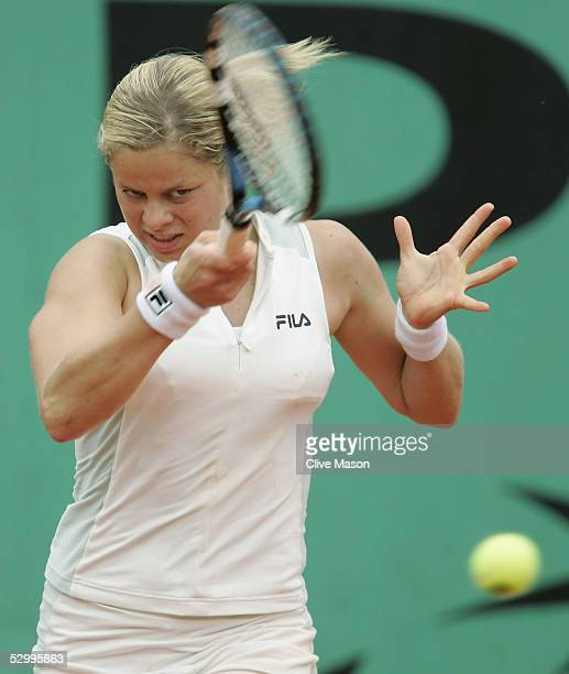 Kim Clijsters of Belgium in action during her fourth round match against Lindsay Davenport of USA during the seventh day of the French Open at Roland...
