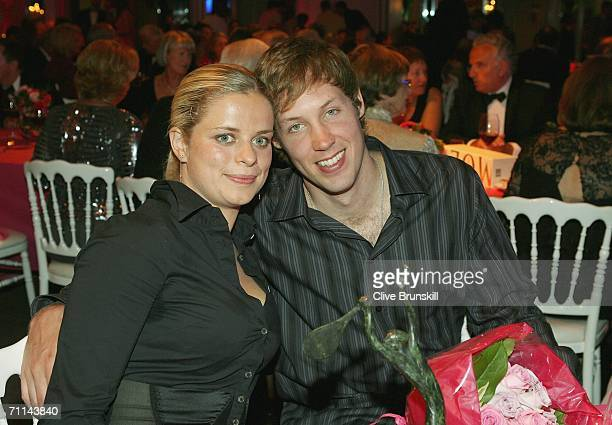 Kim Clijsters of Belgium ITF World Womens Champion 2005 poses with her boyfriend Brian Lynch pose at the Pavillion d'Armenonville after day ten of...