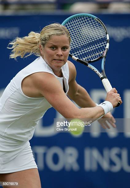 Kim Clijsters of Belgium plays a backhand during her quarter final match against Mashona Washington of the US during the Hastings Direct...