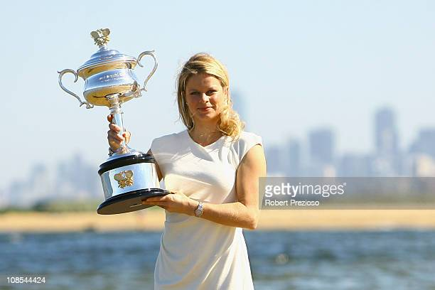 Kim Clijsters of Belgium poses with the Daphne Akhurst Trophy after winning the 2011 Women's Australian Open final at Brighton Beach on January 30...