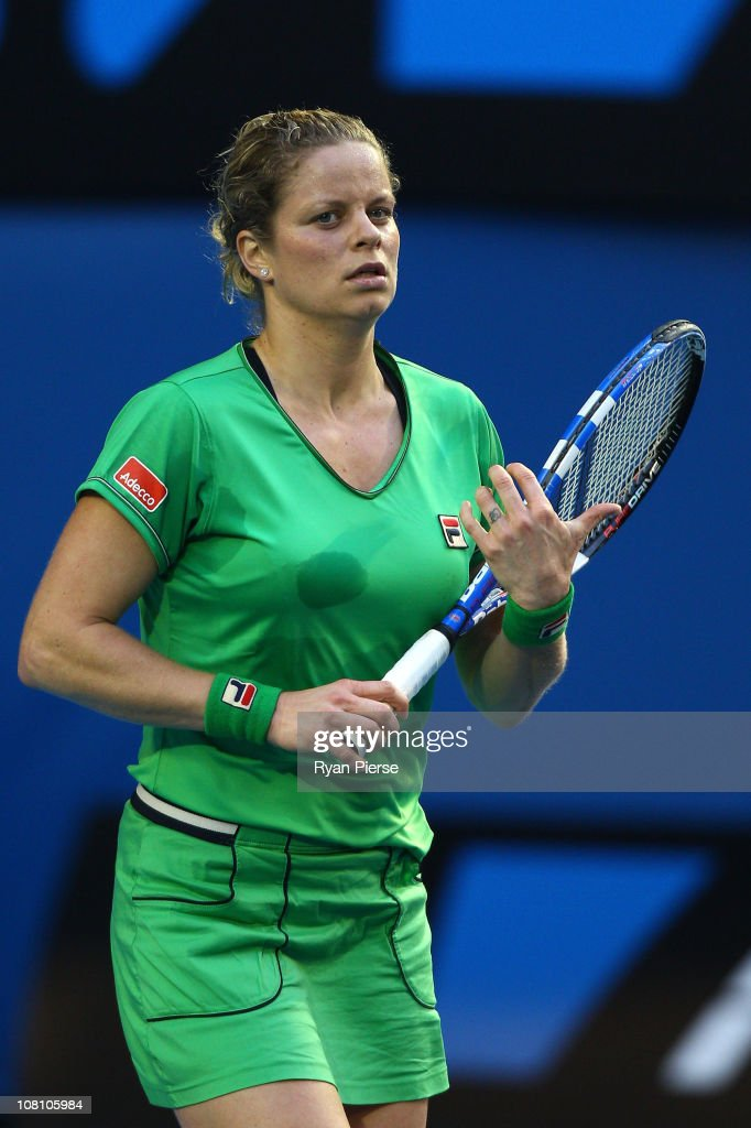 <a gi-track='captionPersonalityLinkClicked' href=/galleries/search?phrase=Kim+Clijsters&family=editorial&specificpeople=178302 ng-click='$event.stopPropagation()'>Kim Clijsters</a> of Belgium reacts after winning her first round match against Dinara Safina of Russia during day two of the 2011 Australian Open at Melbourne Park on January 18, 2011 in Melbourne, Australia.