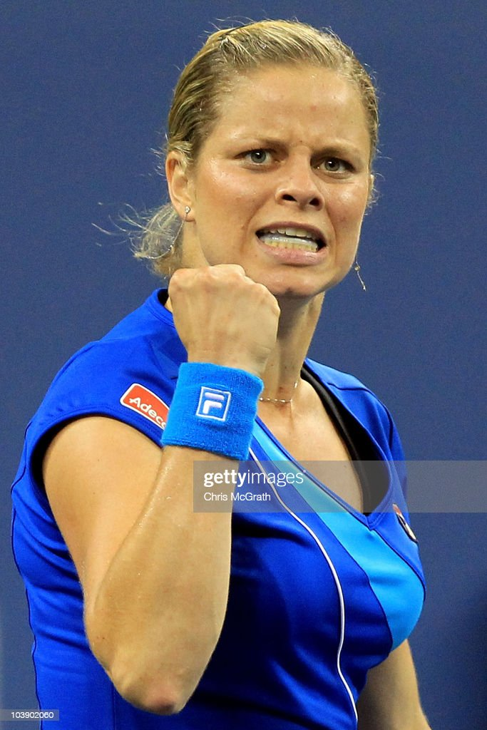 <a gi-track='captionPersonalityLinkClicked' href=/galleries/search?phrase=Kim+Clijsters&family=editorial&specificpeople=178302 ng-click='$event.stopPropagation()'>Kim Clijsters</a> of Belgium reacts against Samantha Stosur of Australia during day nine of the 2010 U.S. Open at the USTA Billie Jean King National Tennis Center on September 7, 2010 in the Flushing neighborhood of the Queens borough of New York City.