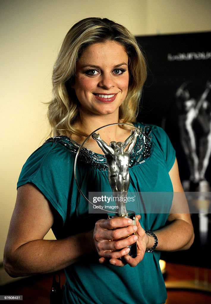 <a gi-track='captionPersonalityLinkClicked' href=/galleries/search?phrase=Kim+Clijsters&family=editorial&specificpeople=178302 ng-click='$event.stopPropagation()'>Kim Clijsters</a> poses with her award for ' Laureus World Comeback of the Year' during the Laureus World Sports Awards 2010 on March 10, 2010 in Abu Dhabi, United Arab Emirates.