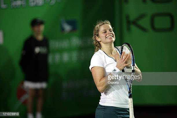 Kim Clijsters smiles after the Watsons Water Champions Challenge match between Belgium's Kim Clijsters and China's Zheng Jie in Hong Kong China on...