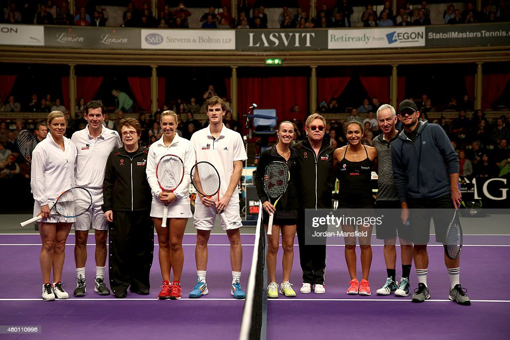 Kim Clijsters Tim Henman Billie Jean King Sabine Lisicki Jamie Murray Martina Hingis Sir Elton John Heather Watson John McEnroe and Andy Roddick line...