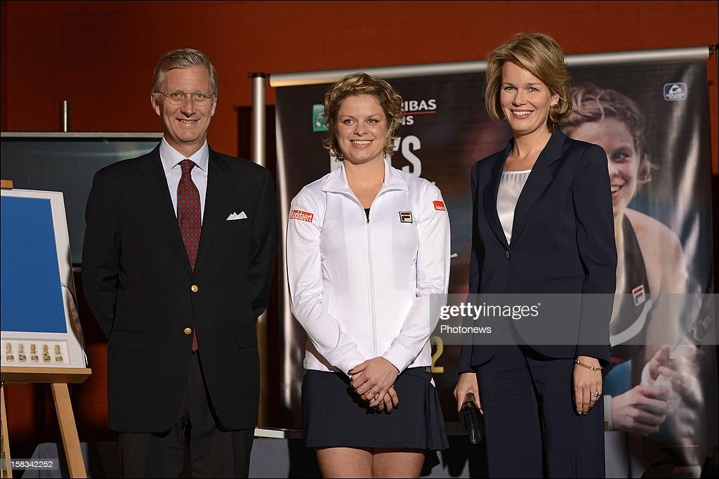 Kim Clistjers (C) poses with Prince Phillip of Belgium and Princess Mathilda of Belgium after her last match during the 'Kim's Thank You Games' at sportpaleis on December 12, 2012 in Antwerp, Belgium.